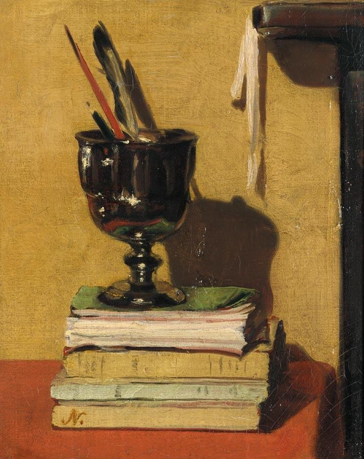 Vase and Books on a Red Table, 1919