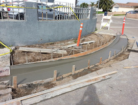 Curb and gutter placed