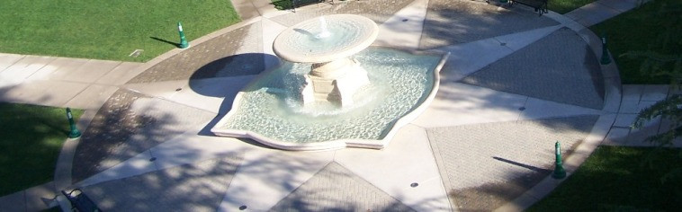 Aerial view of the fountain and tile design