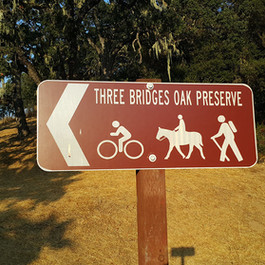 Three Bridges Oak Preserve sign