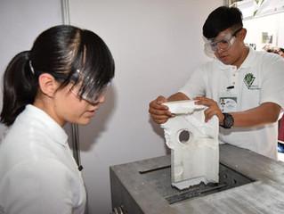 Con máquina recicladora politécnica transforman el unicel en pegamento