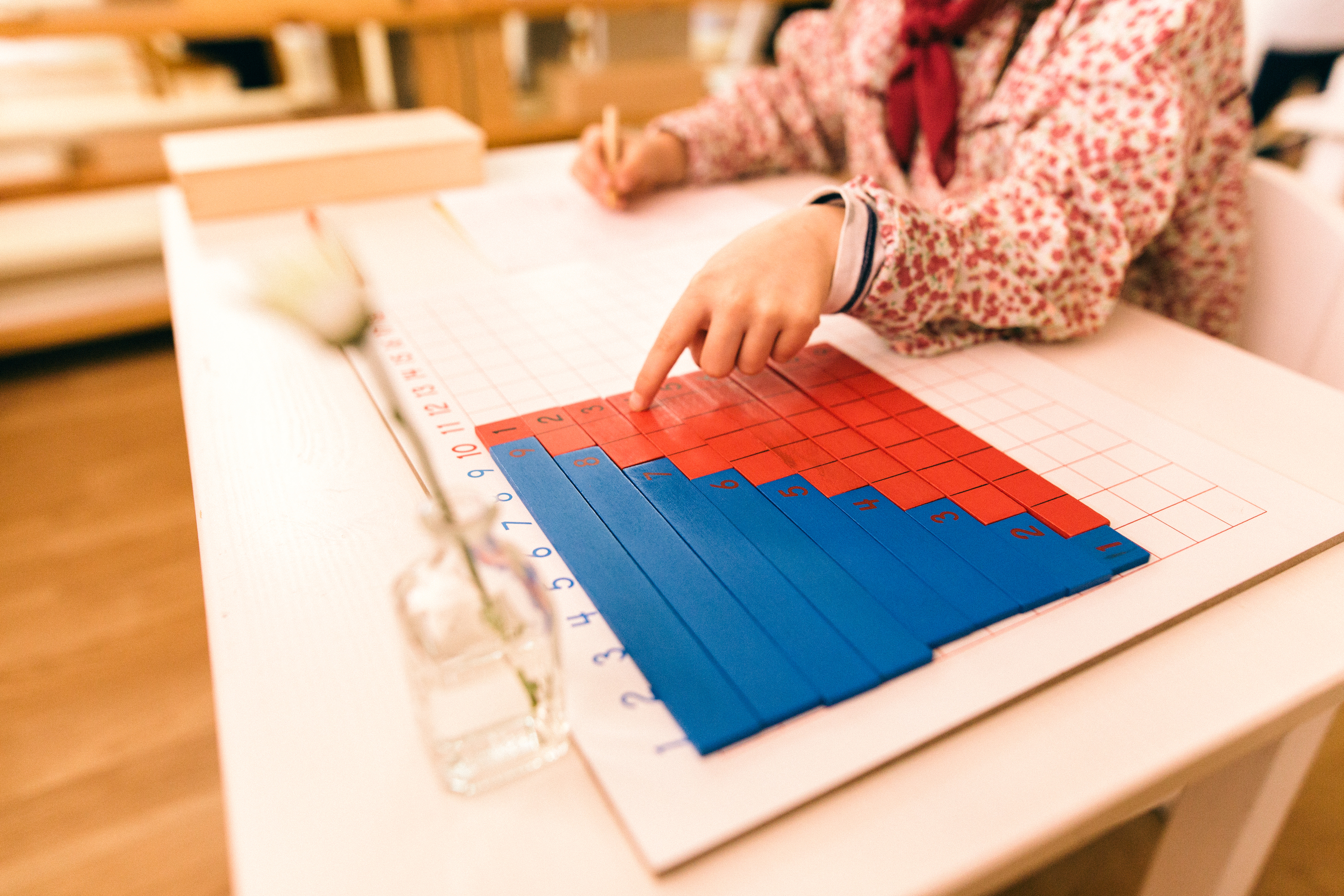 Wood montessori material, class at schoo