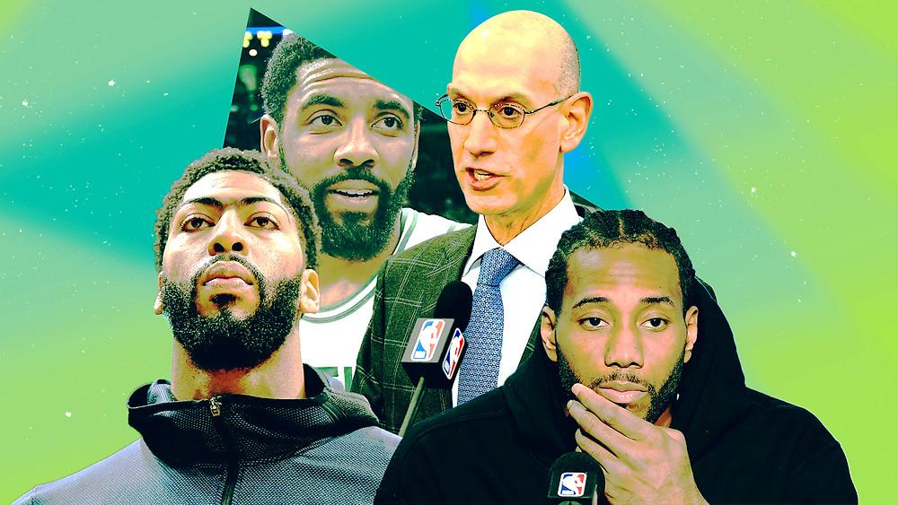Anthony_Davis_Kyrie_Irving_Kawhi_Leonard_Adam_Silver_NBA_Around_the_Game