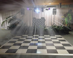 DJ sound and lighting set up