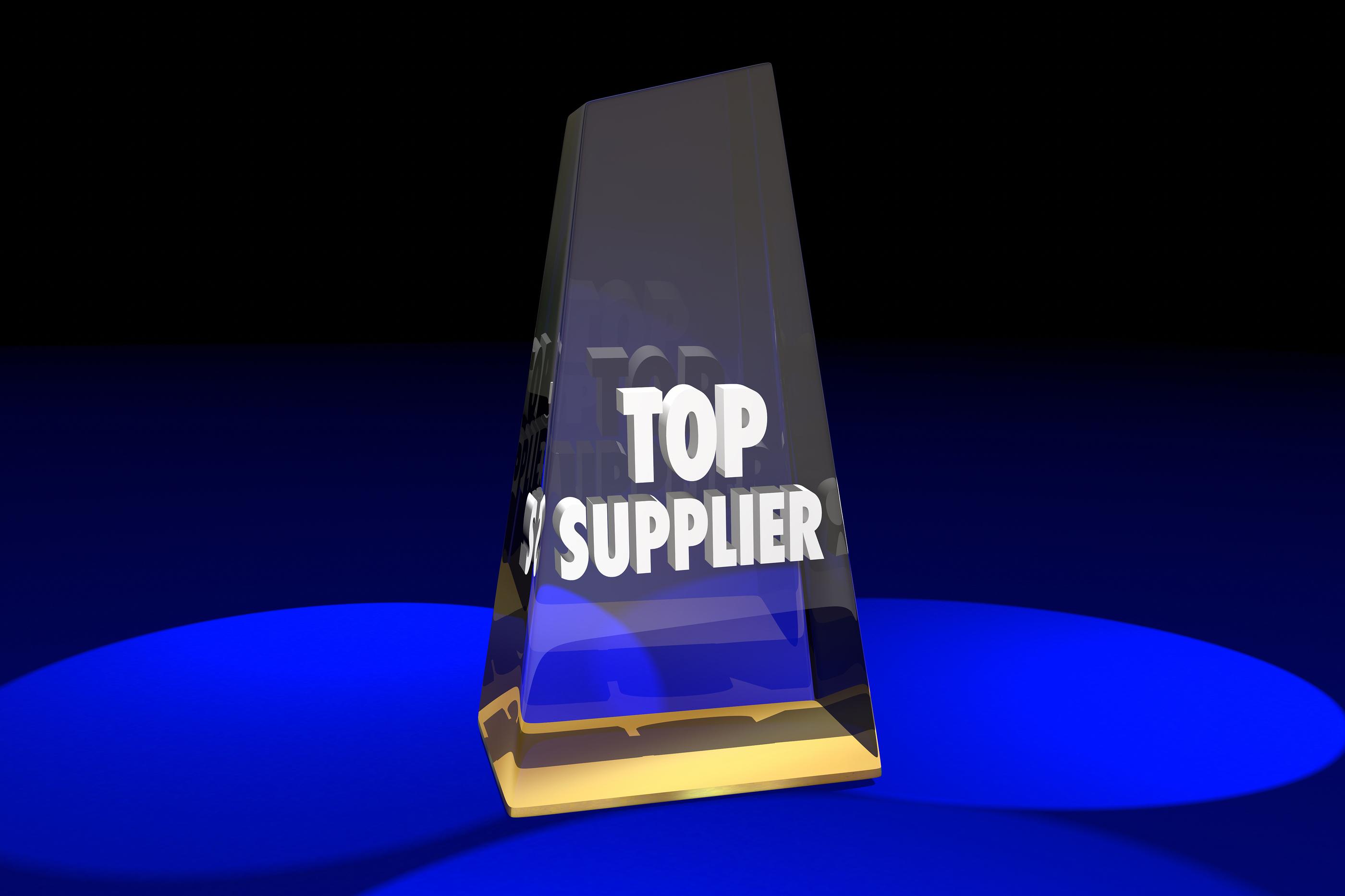 Top Supplier Vendor Provider Award Words 3d Illustration