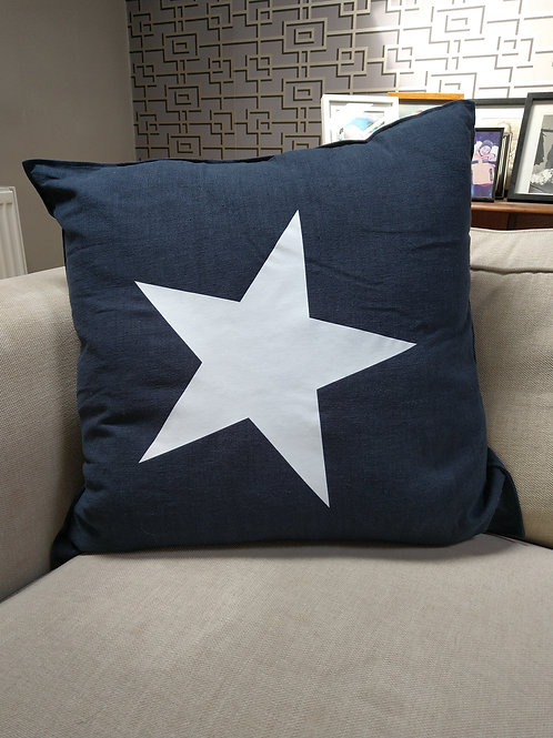 Navy Blue cushion with off white star