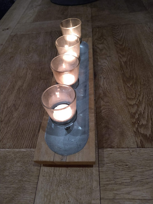 Glass tealight holder and hardwood display tray