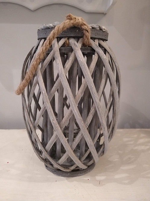 Grey Woven Lantern with rope handle