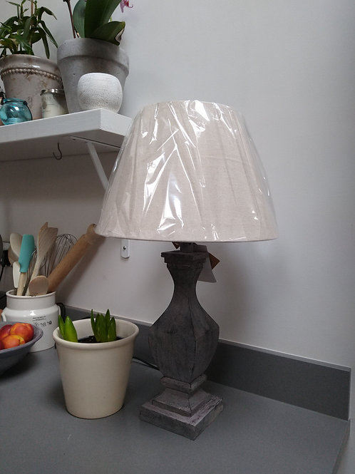 Fluted light wood table lamp and shade