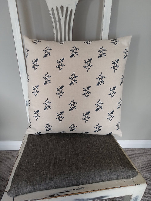 Cream Maisie cushion with Navy floral design