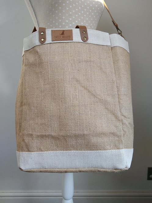 Jute Bag with vegan leather strap and handle