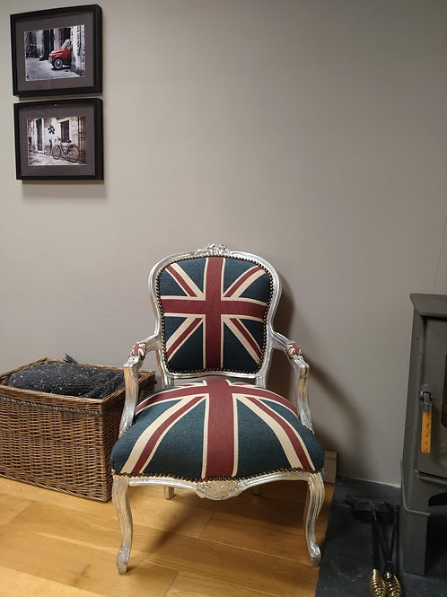 French Style Union Jack Shabby Chic Chair
