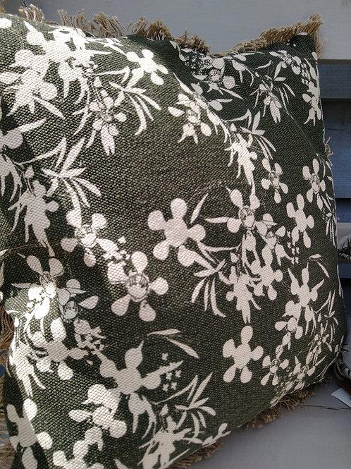 Olive Green Myrtle Flower Print Cushion