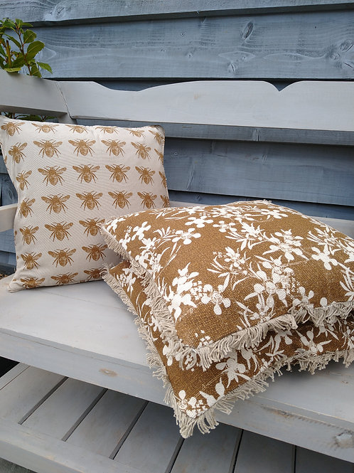 Mustard Myrtle Flower Print Cushion