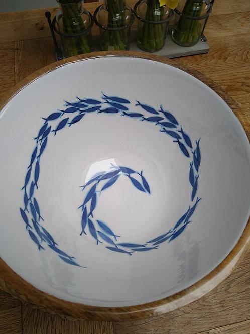 Mango wood salad bowl with swimming fish design
