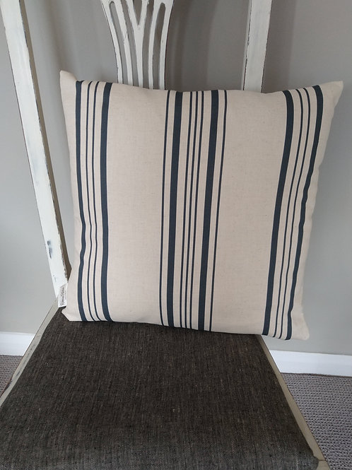 Navy and cream linen ticking stripe cushion