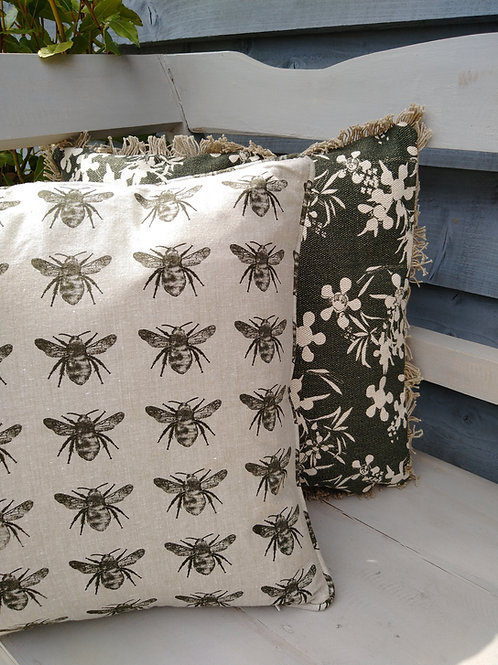 Olive Green Bee Cushion