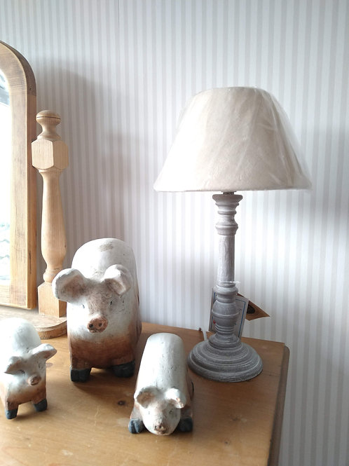 French Grey Bedside Table Lamp and Shade