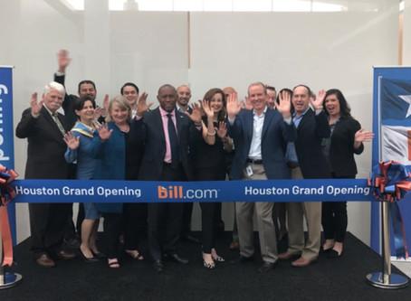 Houston Mayor Turner celebrates with the Greater Houston Partnership at Bill.com's Houston HQ Ribbon