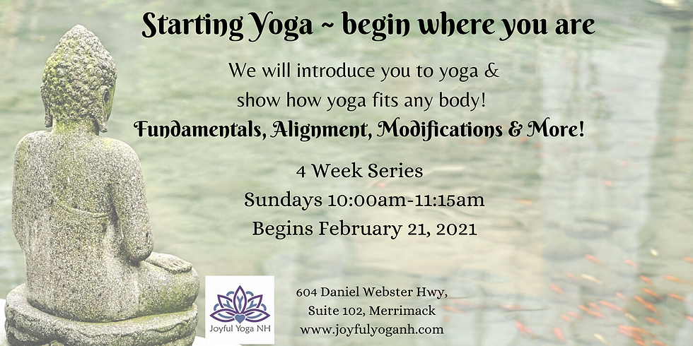 Starting Yoga ~ Begin where you are!