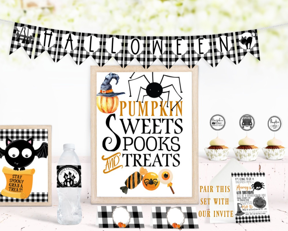 Halloween Treat Table / Halloween Treat Station / Low Contact Treats / Drive by Halloween Ideas / Drive by Halloween / Halloween Ideas / Trick or Treating Ideas / Printable Halloween Party Supplies / Halloween Party Supplies