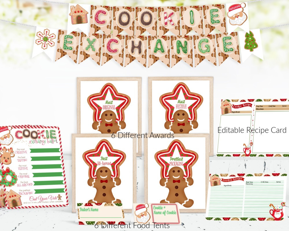 Cookie Decorating / Cookie Swap Party / Cookie Exchange Party / Cookie Exchange / Christmas Cookies / Cookie Decorating Party for Kids / Cookie Contest / Gingerbread Man / Cookie Recipe Cards / Editable Cookie Recipe Cards / Cookie Exchange Ballots / Cookie Swap Ballots / Cookie Exchange Food Tents