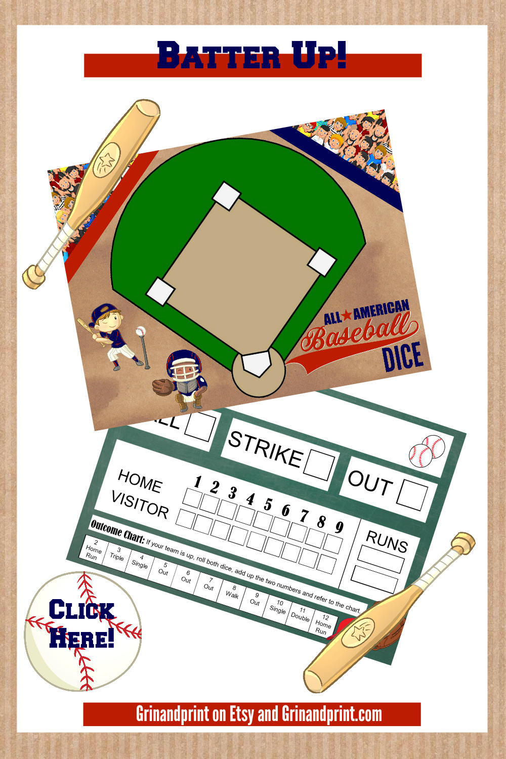 Baseball Party / Baseball Party Ideas / Baseball Printable / Baseball Dice / Fathers Day Gift / Fathers Day Ideas / Fathers Day Party