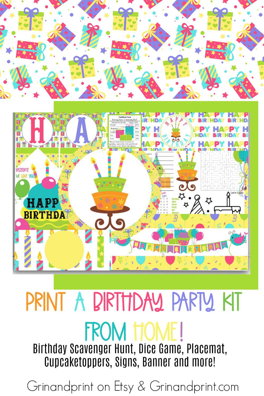 Birthday Party Decorations / Birthday Party Supplies / Birthday Party Kit / Birthday Banner / Birthday Games