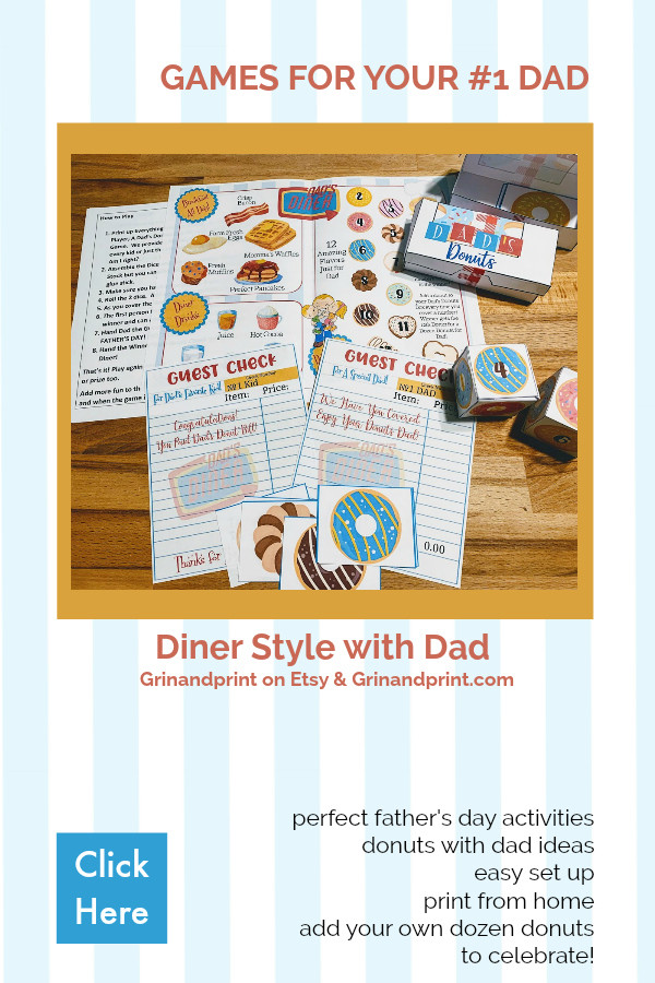 Perfect father's day activities / donuts with dad ideas / diner style with dad / games for dad / fathers day breakfast / fathers day party ideas / printable games / dads diner party