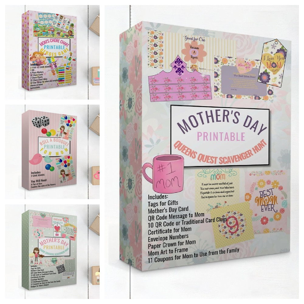 Mother's Day Games and Activities, Mother's Day Scavenger Hunts, Grinandprint, Etsy, Grinandprint.com