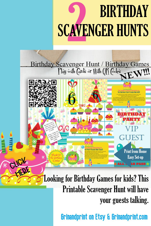 Birthday Scavenger Hunt / Birthday Games / Birthday Activity / Printable Birthday Games