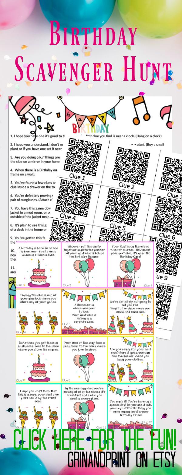 Birthday Games / Birthday Scavenger Hunt / Birthday Party Ideas / Birthday Activity / Printable Birthday Games