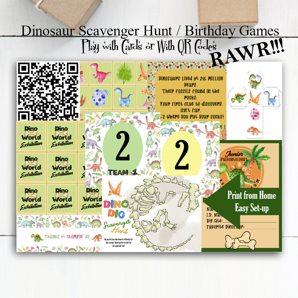 Dinosaur Party / Dinosaur Games / Scavenger Hunts / Birthday Party Ideas / Birthday Party Games / Boys Birthday
