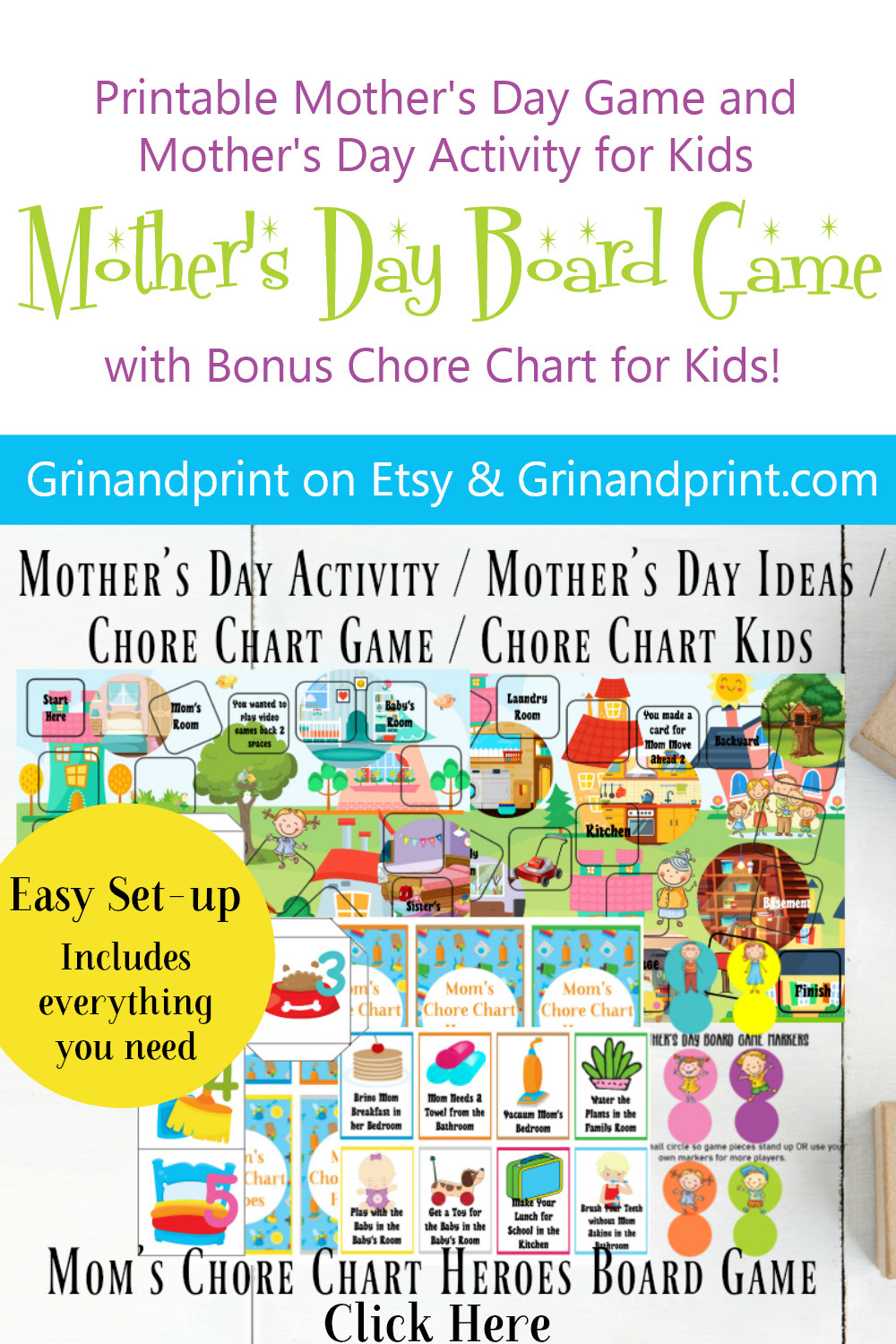 Mother's Day Board Game / Printable Games for Mom / Printable / Mother's Day / Mom Gift / Mother's Day Gift Ideas