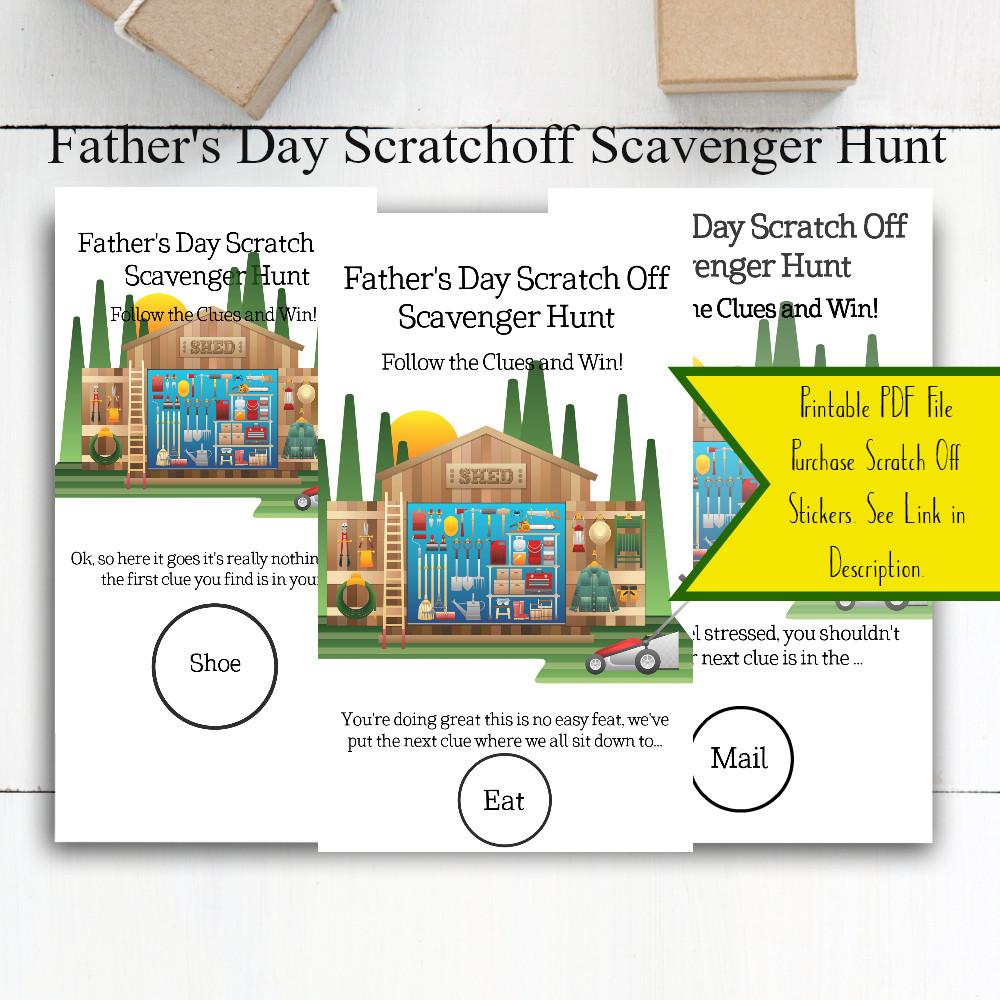 Scratcher Cards / Scratcher Cards for Dad / Fathers Day Scavenger Hunt / Fathers Day Gifts / Fathers Day Ideas / Fathers Day Party / Fathers Day / Games for Dad