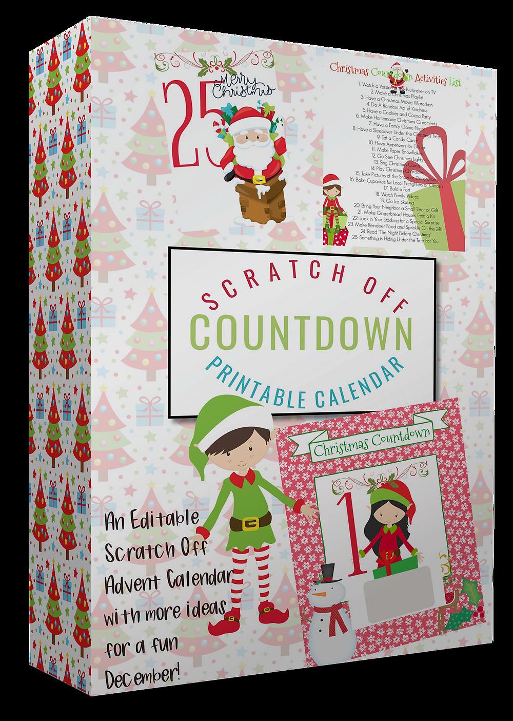 Christmas Countdown Calendar / Christmas Countdown / Christmas Activities / Family Activities / Kids Activities / Holiday Countdown / Advent Calendar / Elf Calendar / Scratch-off Calendar / Scratcher Cards
