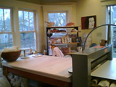 Rosegate Pottery - studio view of worktable