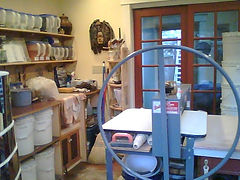 Rosegate Pottery studio view of work area