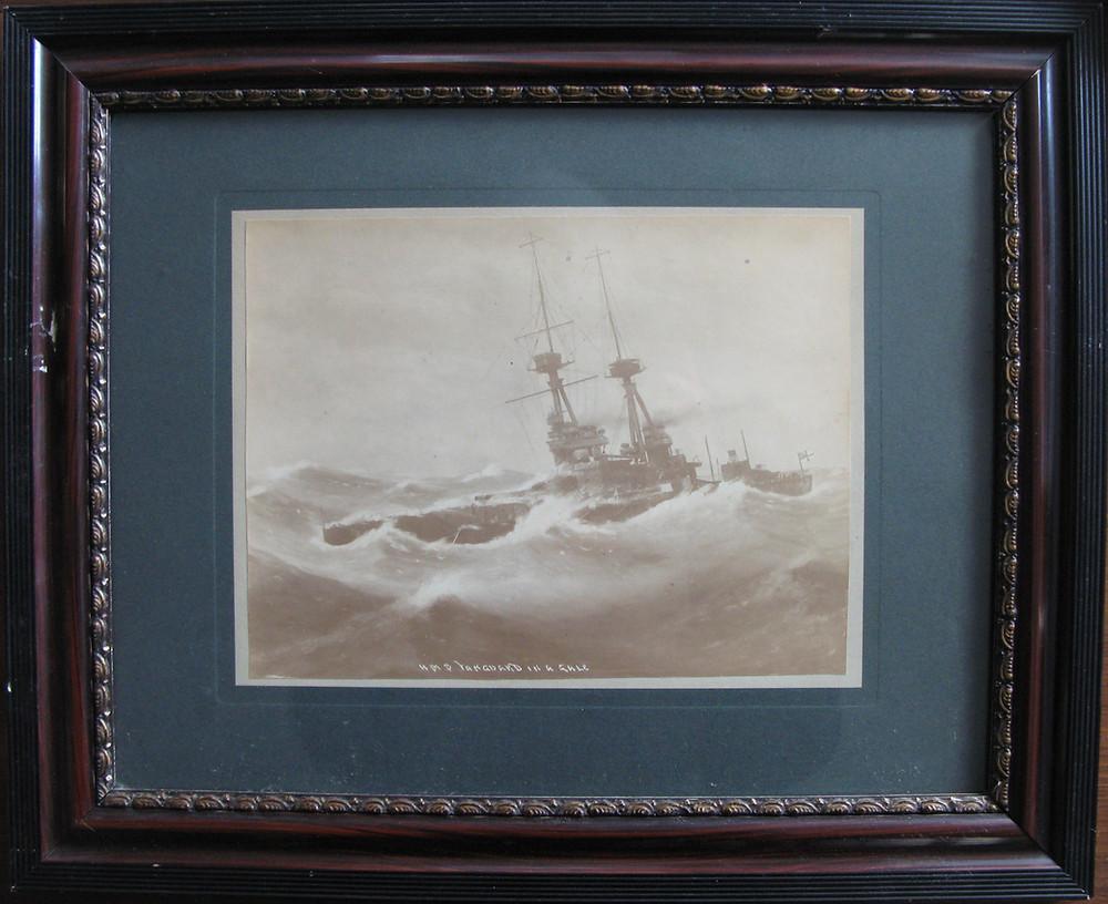 HMS Vanguard in a gale