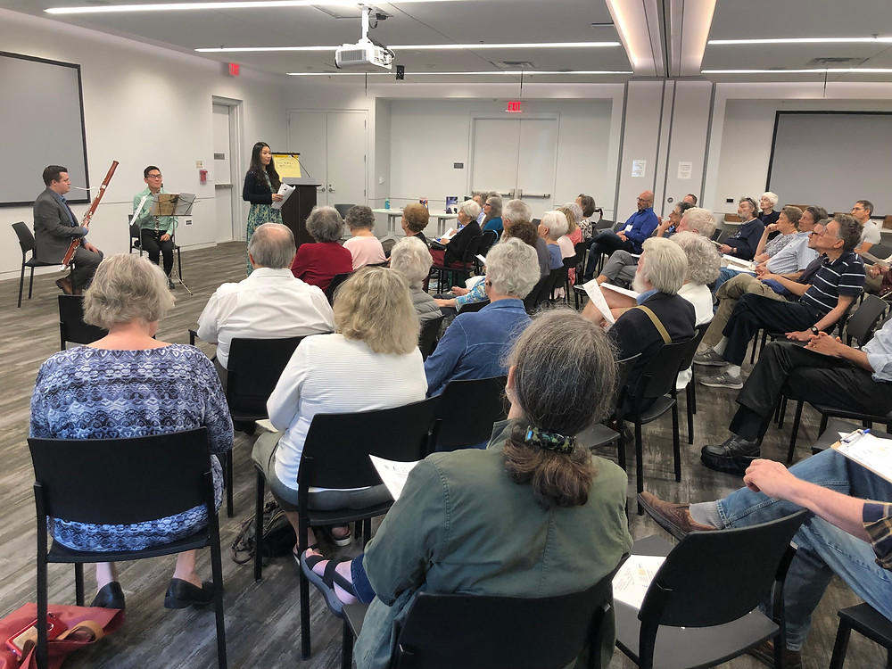 clarinetist Benjamin Chen and bassoonist Samuel Blair at Cleveland Park Library