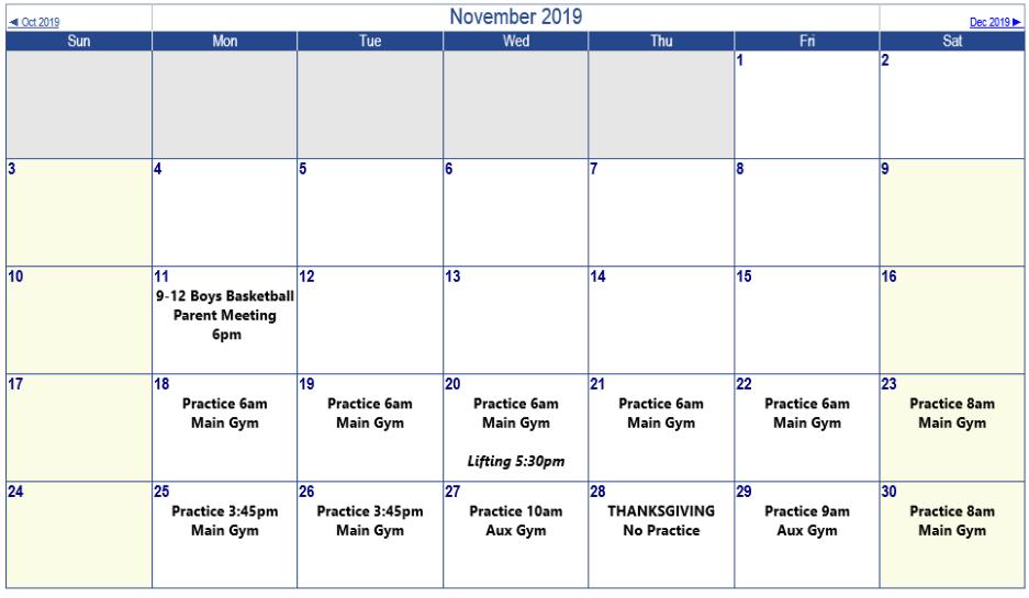 Sophs Master Schedule - Nov