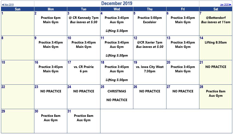 Sophs Master Schedule - Dec