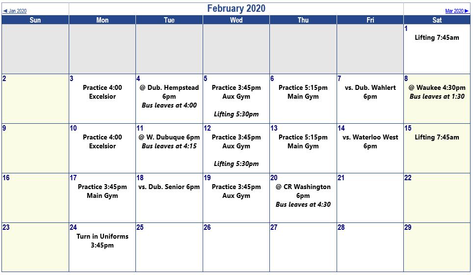 Sophs Master Schedule - Feb
