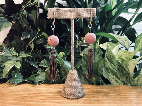 Long dangly concrete and fringe earrings