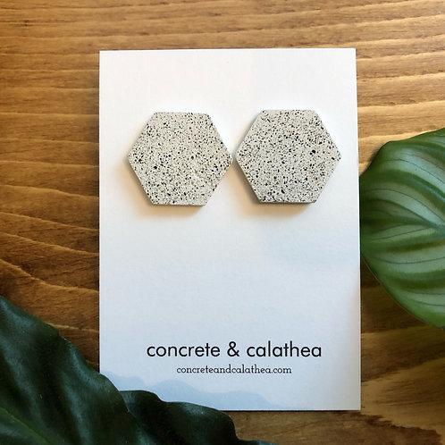 Hexagon-shaped concrete earrings