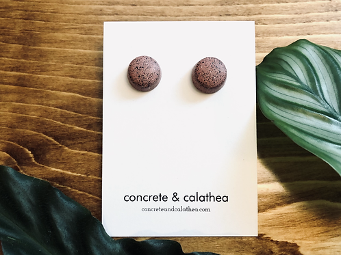 Large-ish round-shaped concrete earrings
