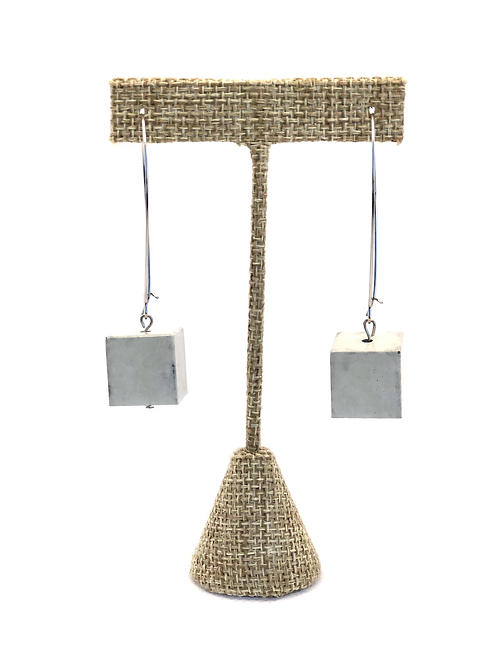 Large concrete cube dangly earrings