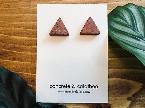 Triangle-shaped concrete earrings