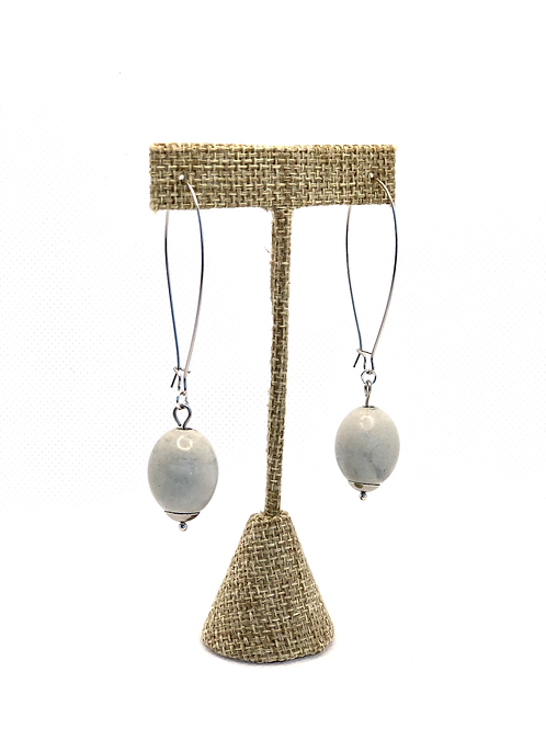Large oval concrete bead dangly earrings