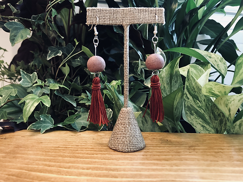 Long dangly concrete and fringe earring